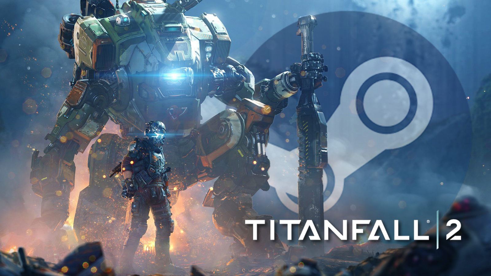 Titanfall 2 pilot stands in front of faded Steam logo.