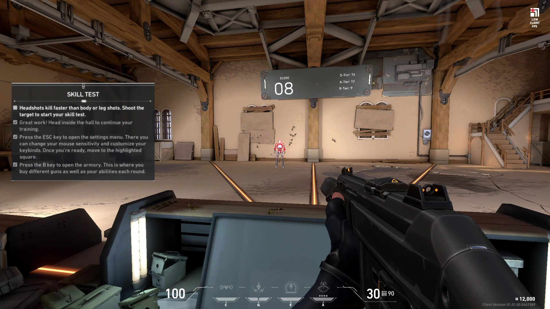 Test your skills at The Range in Valorant when you first jump in.