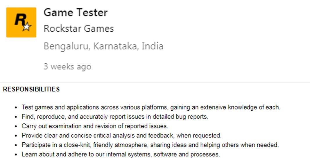 Rockstar India new job listing