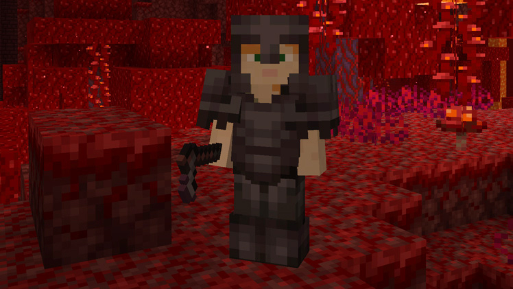Minecraft character wearing Netherite armor.
