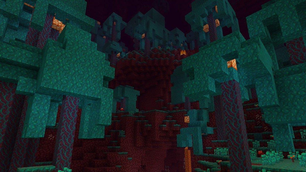 The Warped Forrest biome in Minecraft's Nether.