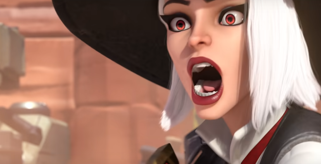 Ashe from Overwatch gasps