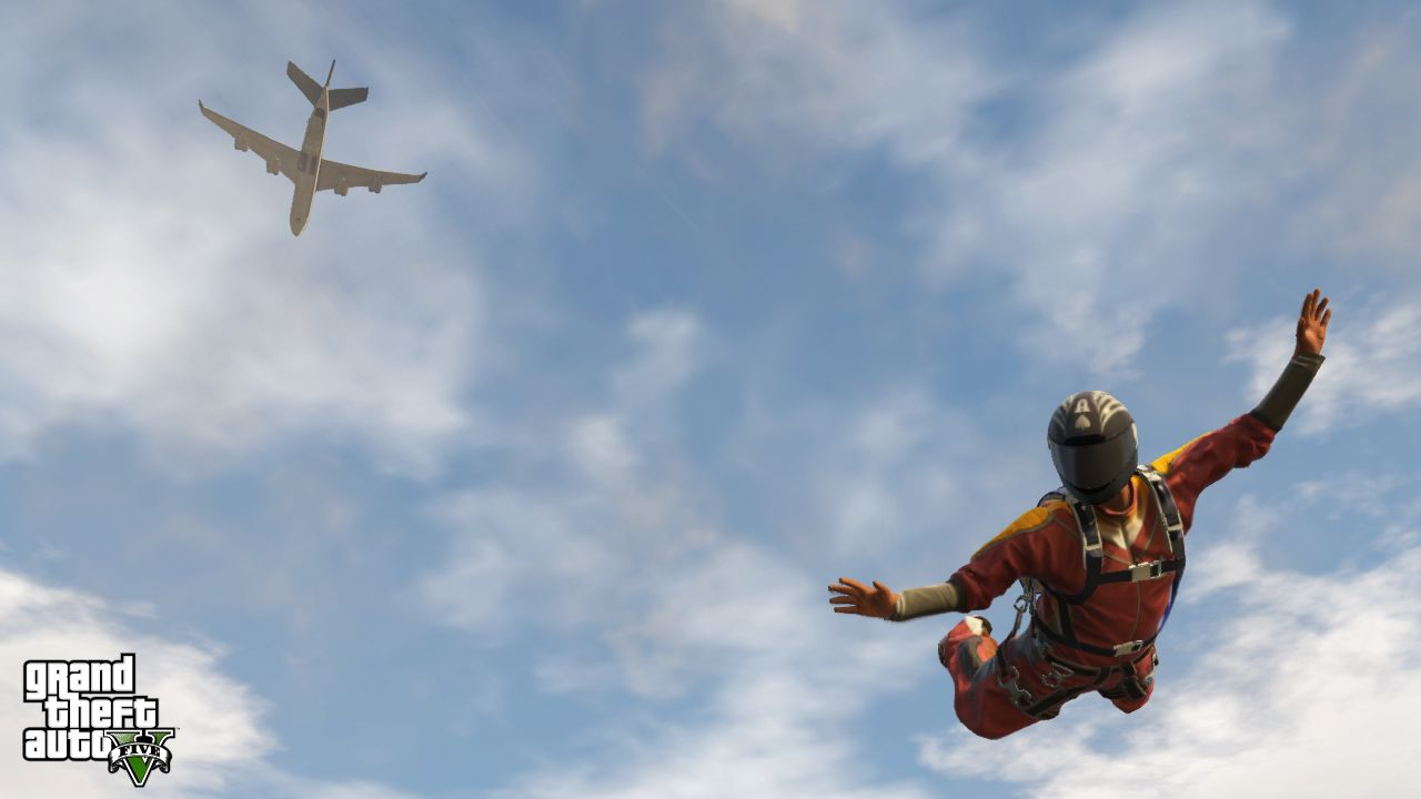 A GTA Online player jumping out of a plane.