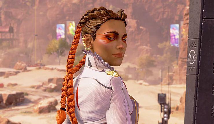 Loba in Apex Legends, looking over her shoulder