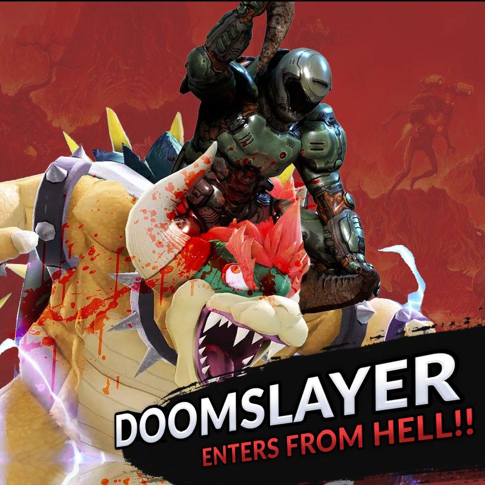 Doomslayer kills Bowser in Smash Ultimate