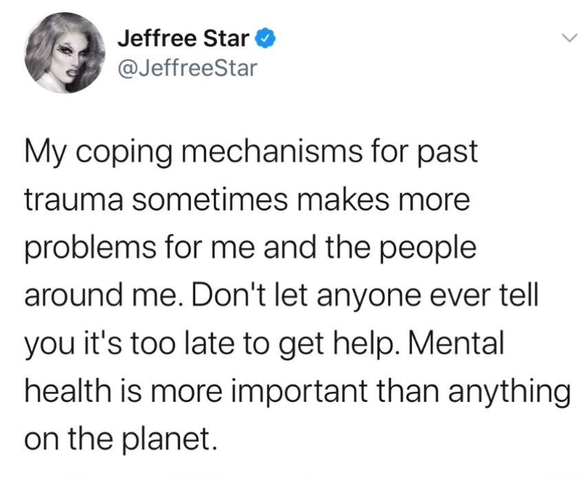 Jeffree Star deleted Tweet mental health