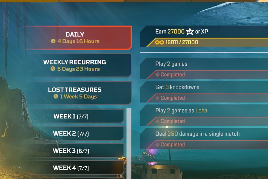 Challenges menu in Apex Legends