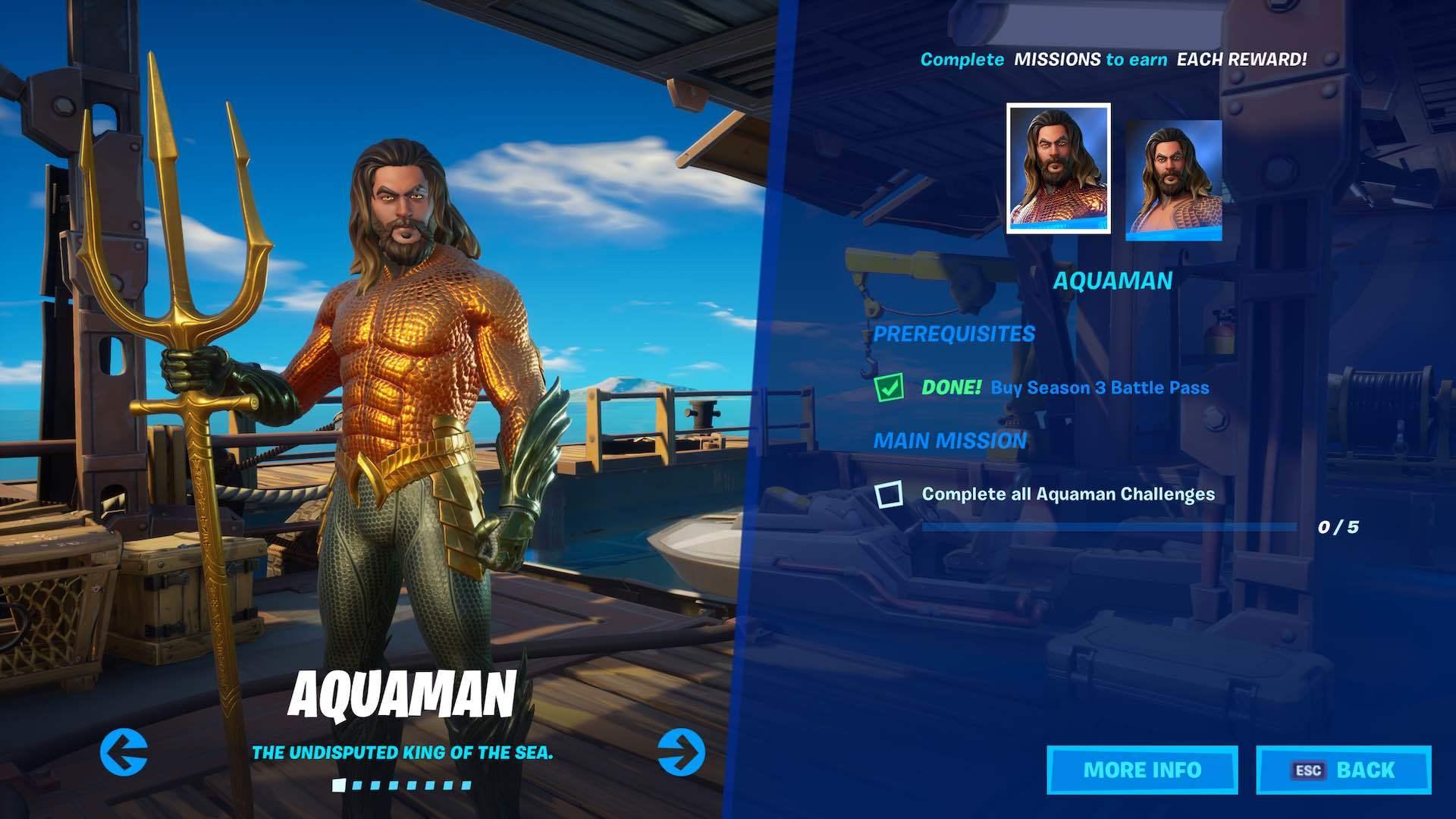 Aquaman skin screen in fortnite
