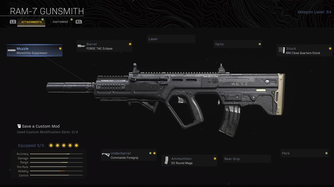 RAM-7 in Modern Warfare's Gunsmith