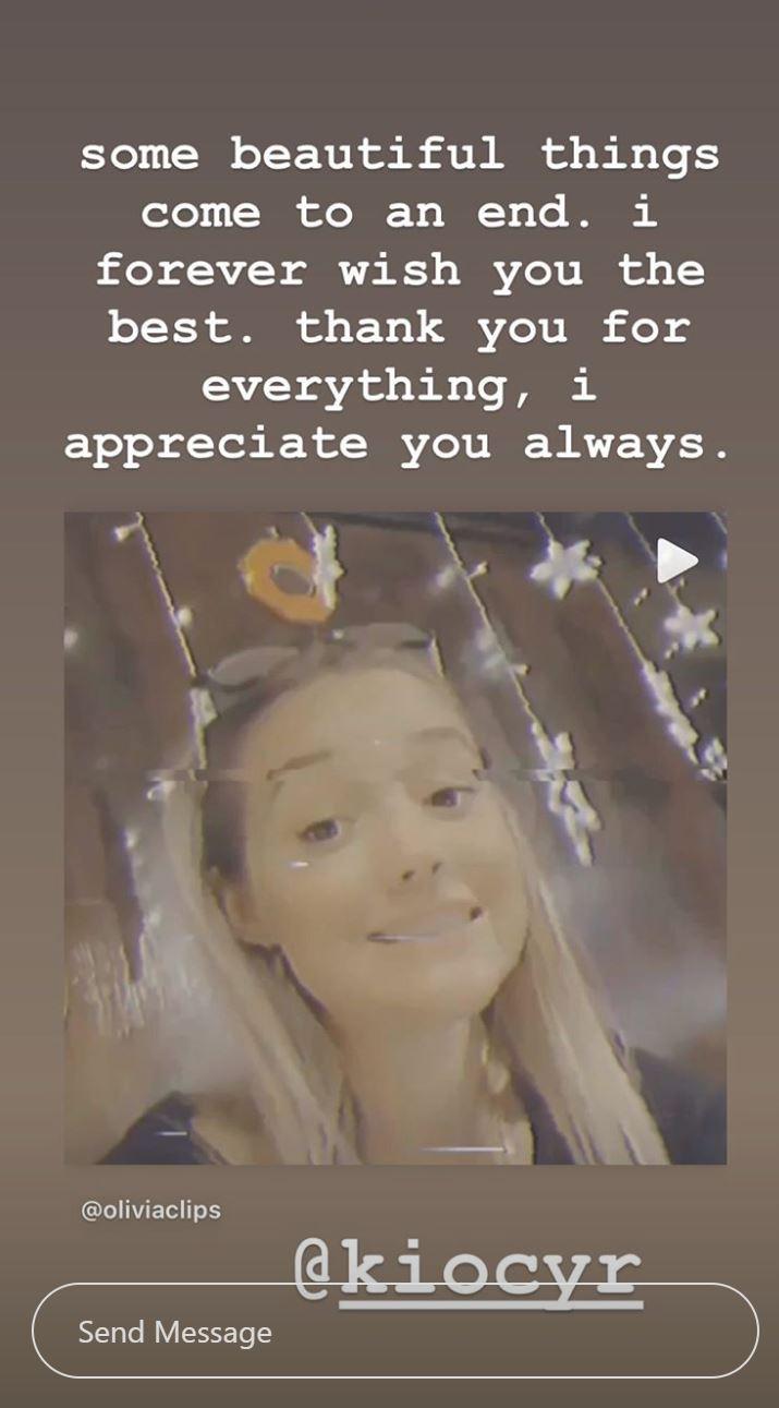 Olivia Ponton Instagram story Kio Cyr breakup