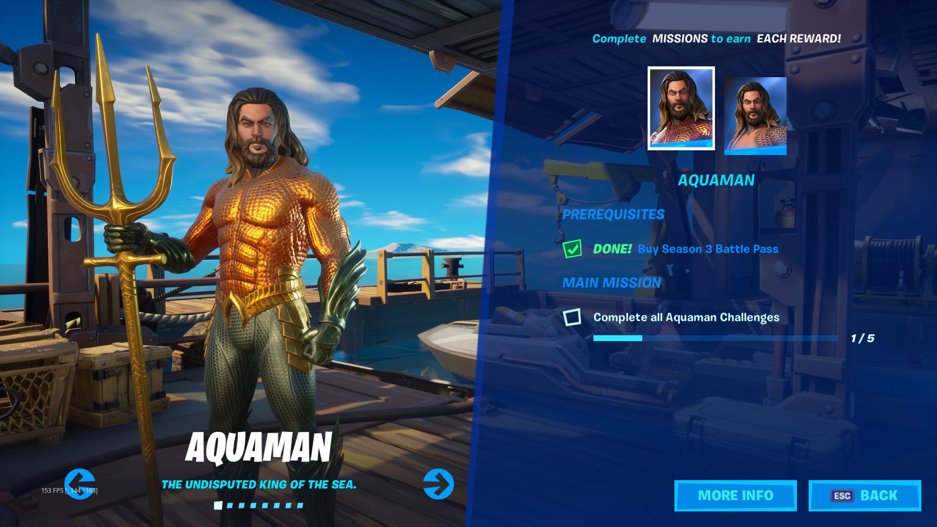 Aquaman skin in Fortnite