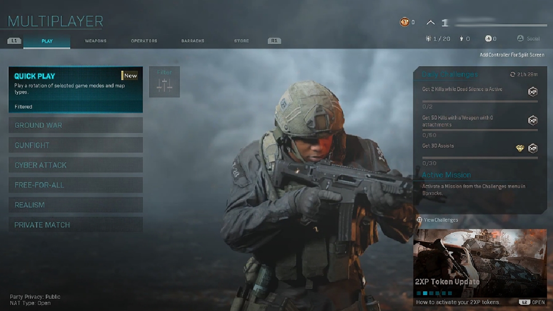 modern warfare's lobby screen
