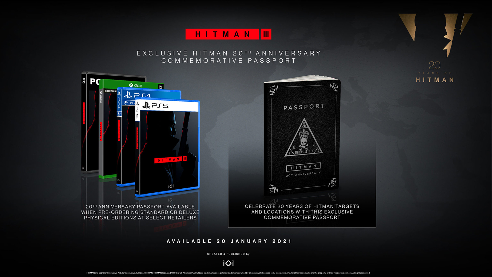 The Hitman 3 Physical pre-order passport