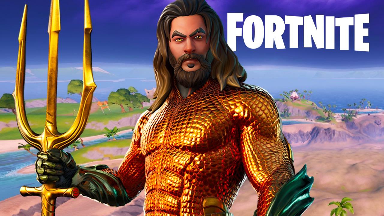 Aquaman's Fortnite skin standing in front of possible Atlantis POI