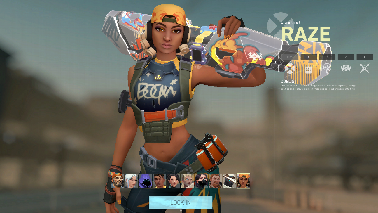 valorant agent Raze holding gun