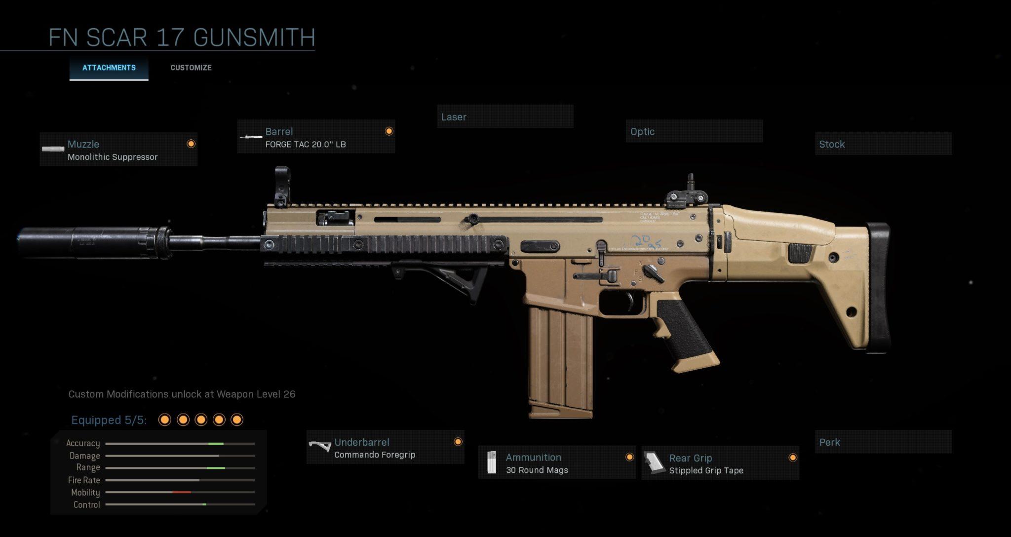FN 17 Scar Warzone loadout