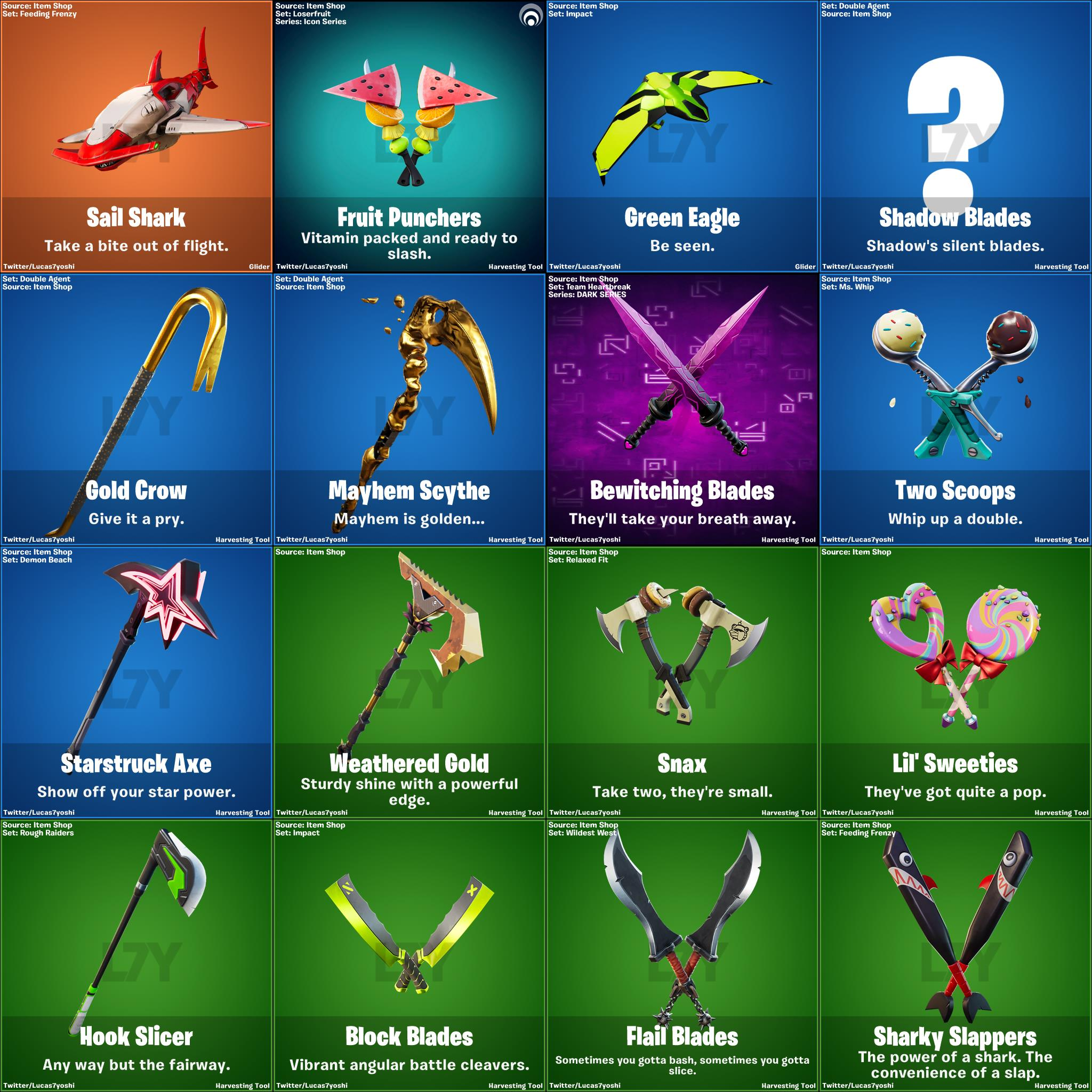 Leaked pickaxes and gliders from Fortnite Patch v13.20