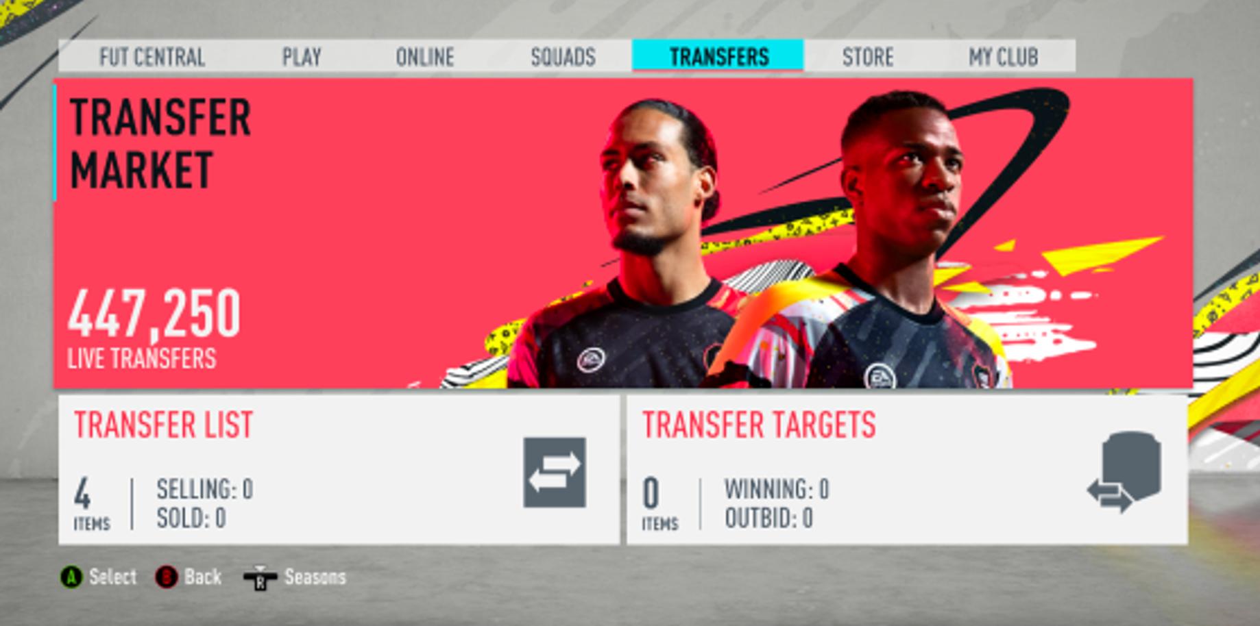FIFA 20's FUT transfer market