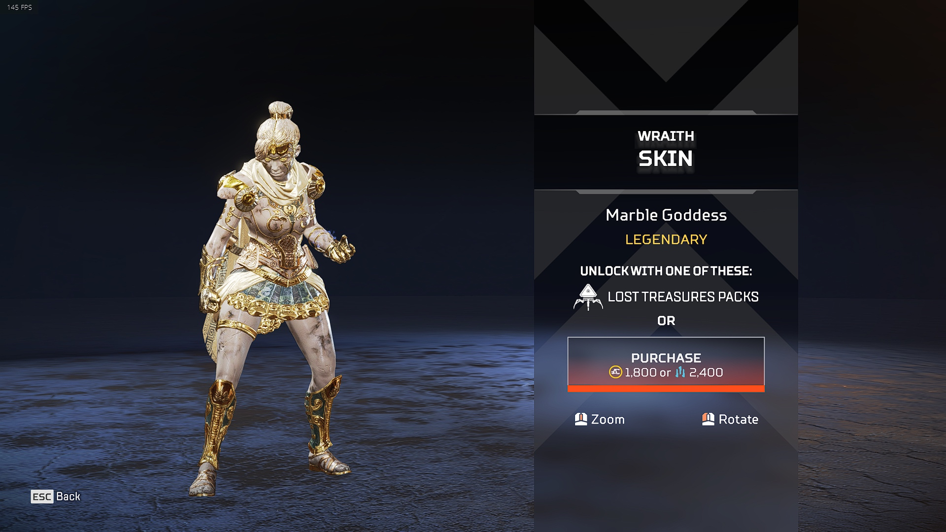 Wraith marble goddess skin in Apex Legends Lost Treasures event