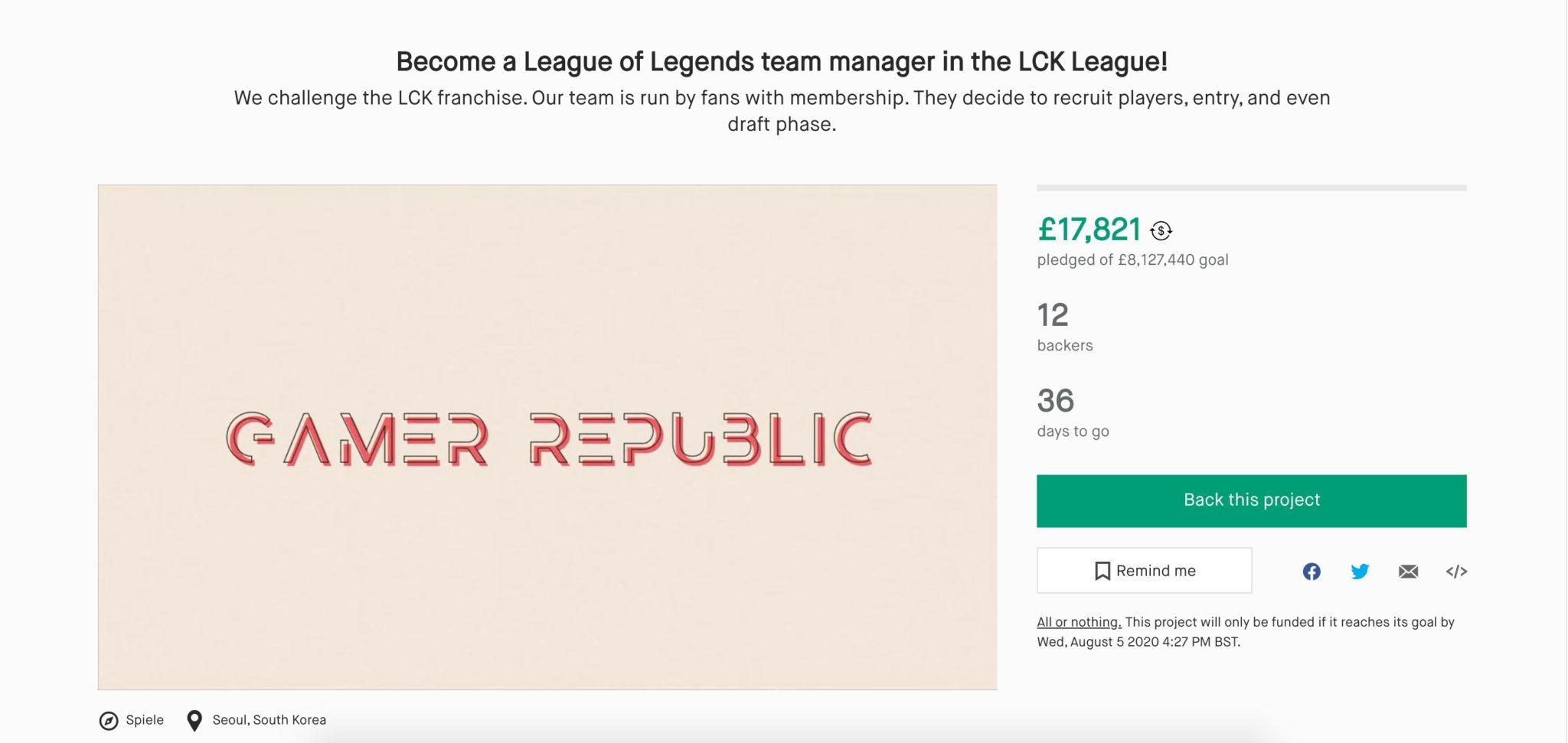 gamer republic kickstarter for $20m to join LCK