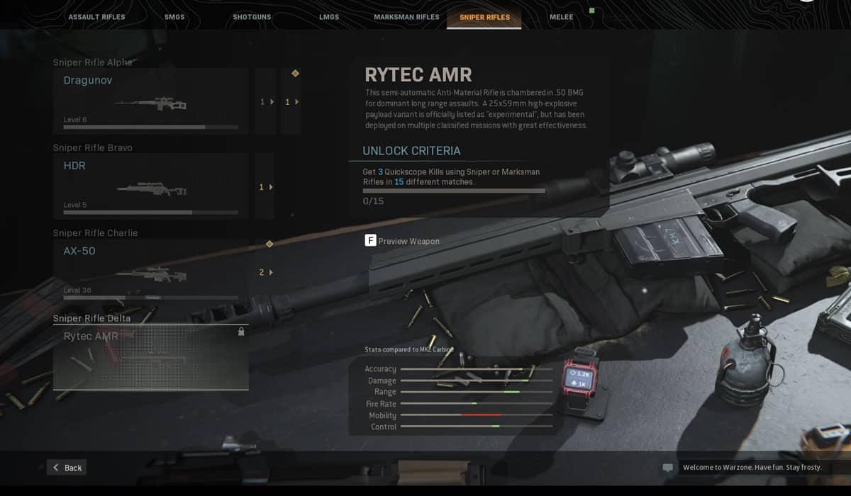 rytec amr sniper rifle in modern warfare and warzone