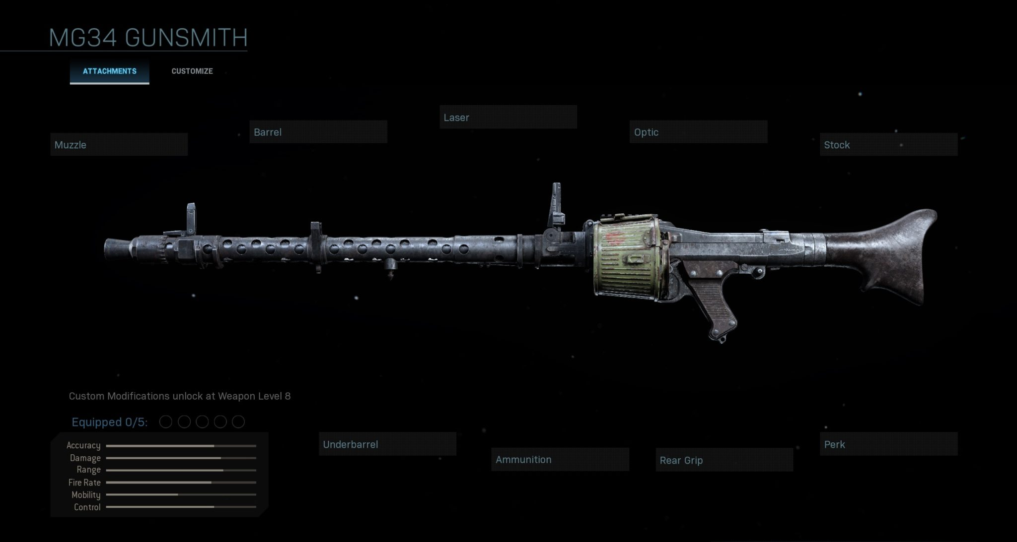 MG34 loadout screen
