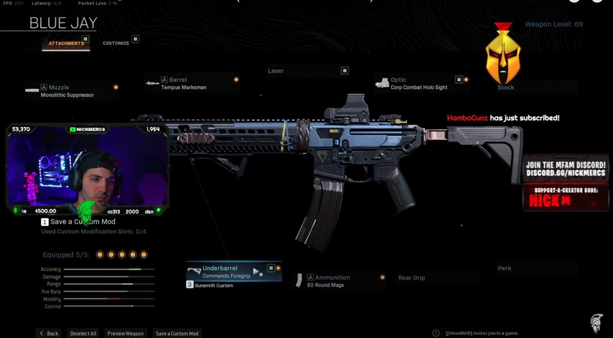nickmercs warzone M13 loadout