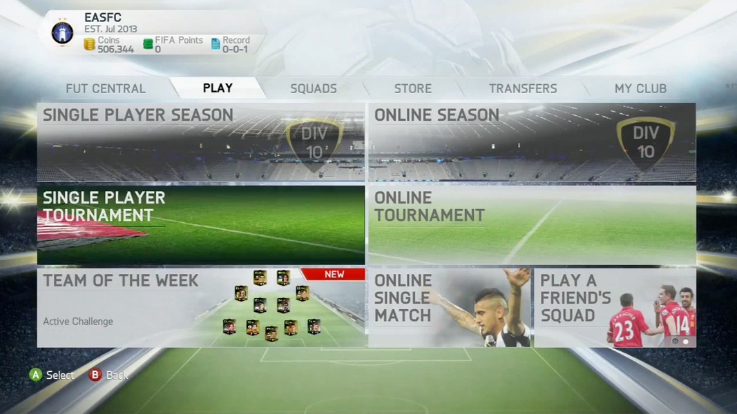 FIFA Ultimate Team options in FIFA 14