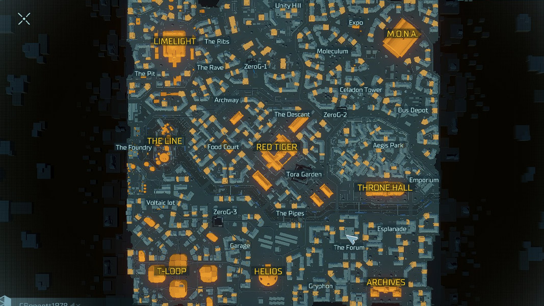 An overview of the Hyper Scape map.