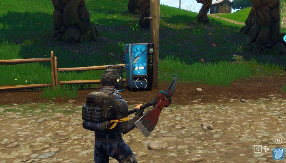 Fortnite character looking at vending machine