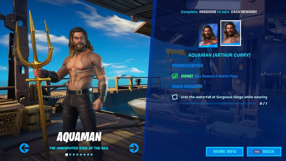 Aquaman skin screen in Fortnite