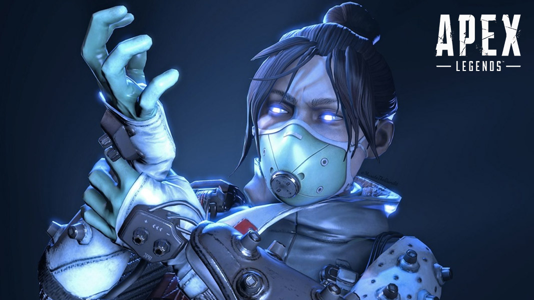 Wraith putting on a glove in Apex Legends