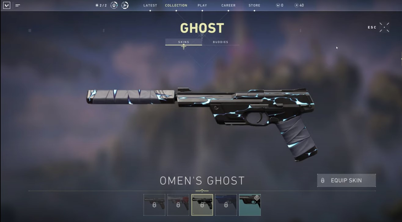 Omen's Ghost skin in Valorant.
