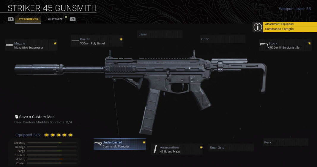 Striker 45 in MW Gunsmith