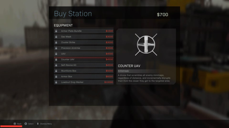 Counter UAVs in Buy Station menu in Warzone.
