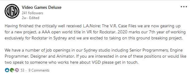 A LinkedIn post for a new Rockstar game