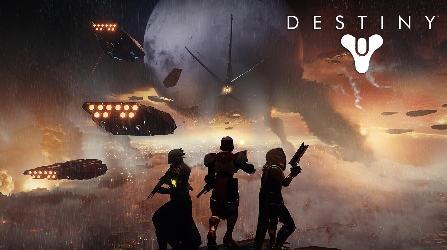 Destiny guardians surrounding by Cabal forces
