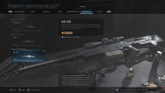 AX 50 sniper in Modern Warfare