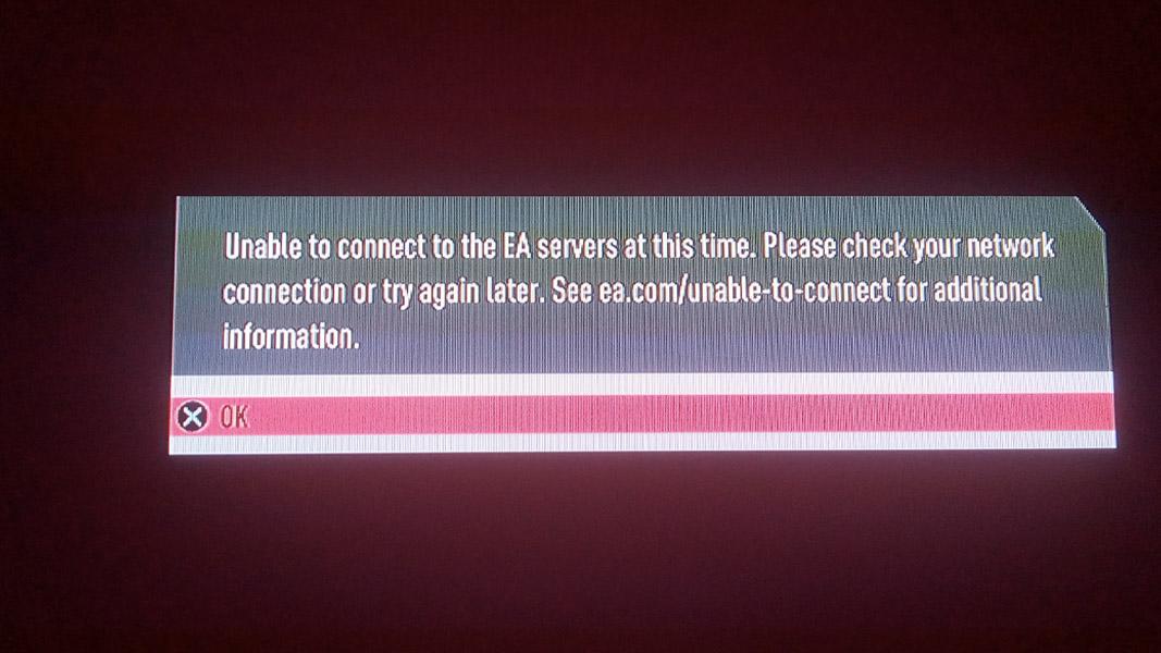 FIFA's server error message