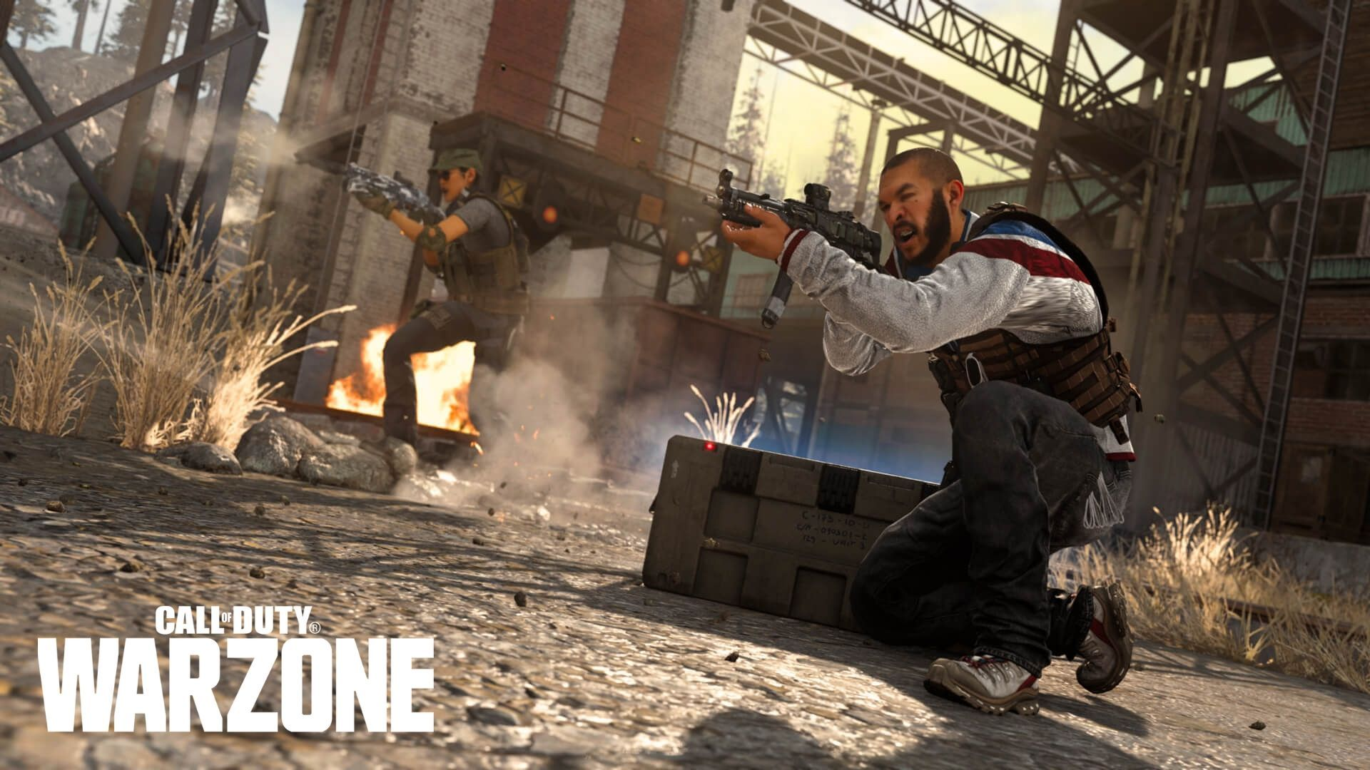 Warzone characters aiming weapons