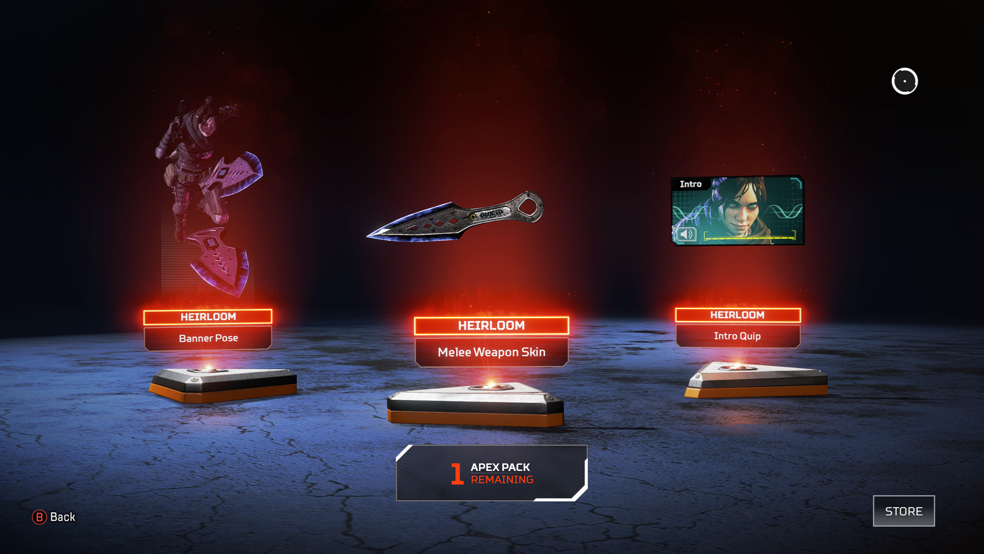wraith heirloom screen in apex legends