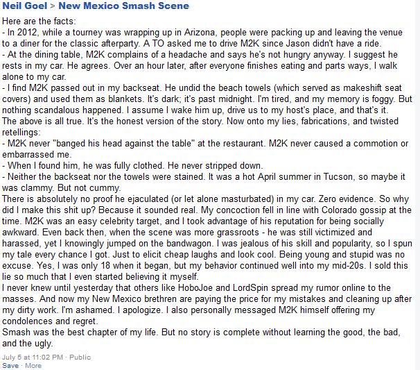 Mew2King's accuser's statement