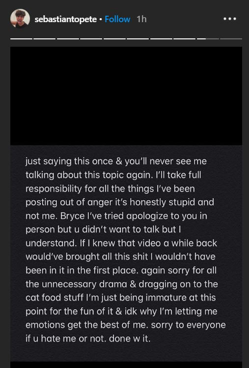 Topete instagram apology to Bryce Hall