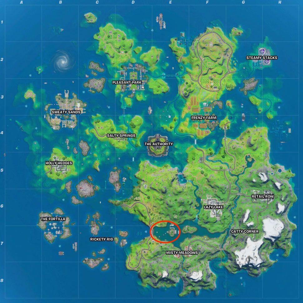 Fortnite season 3 map Motorboat Mayhem location