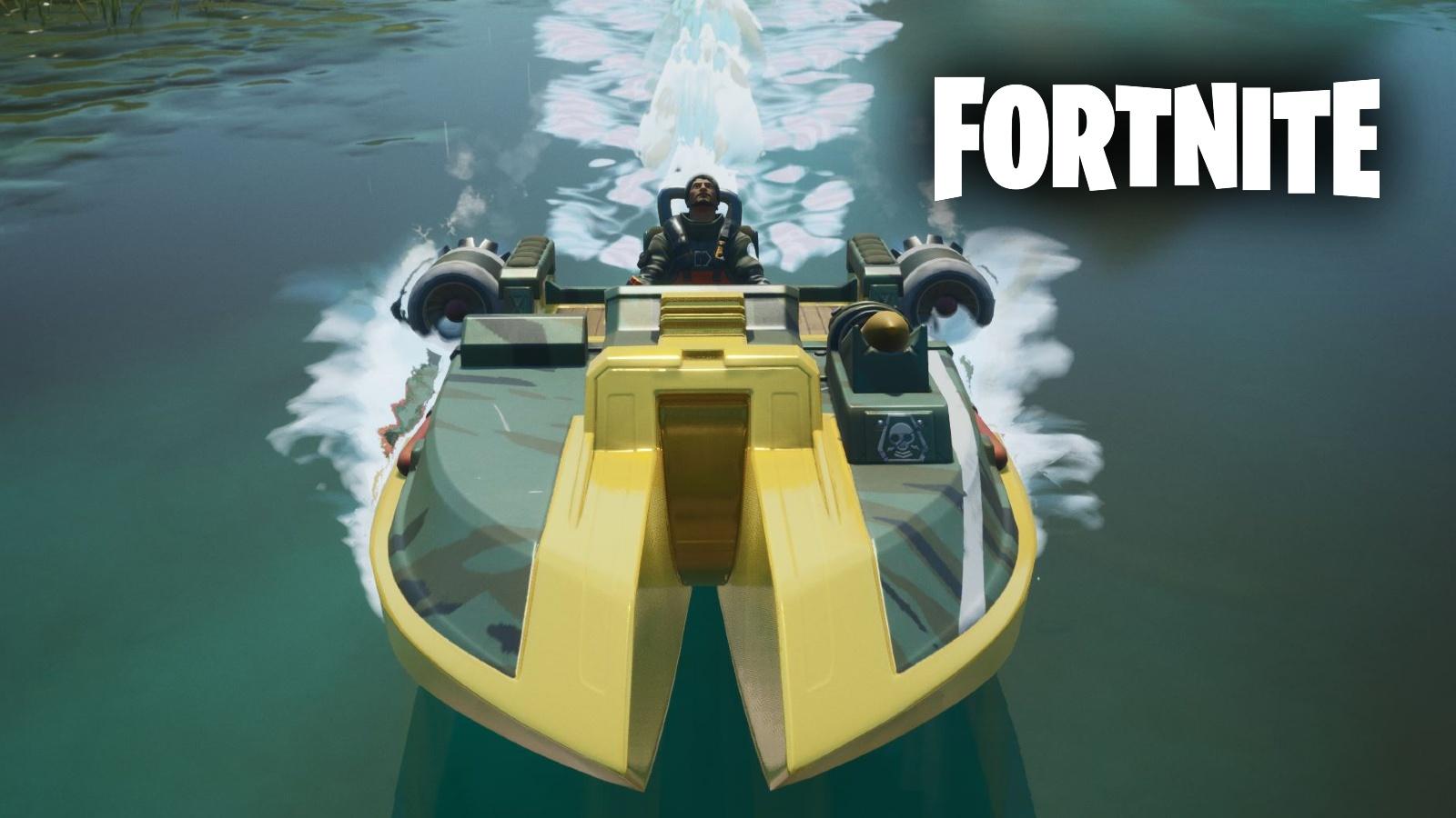 Fortnite logo with gold motorboat