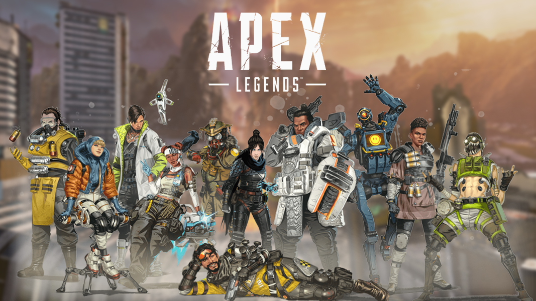 Apex Legends characters on a World's Edge background