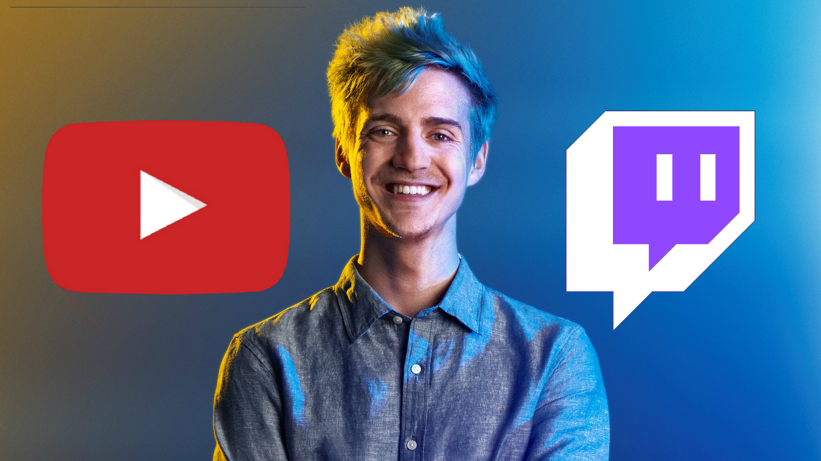 Ninja with YouTube and Twitch logo