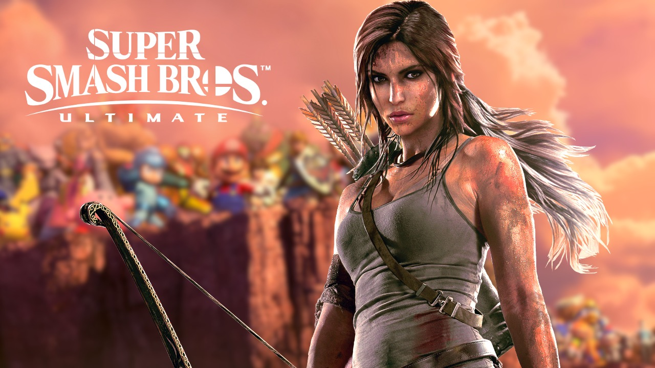 Lara Croft from Tomb Raider in front of Smash Bros characters