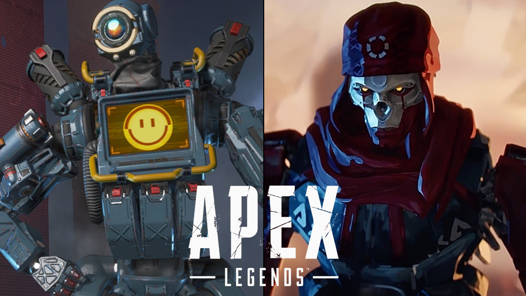 Pathfinder and Revenant with Apex Legends logo