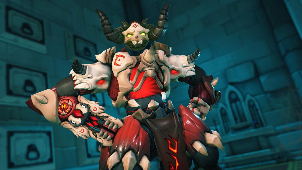 Orisa posing in demon Overwatch skin